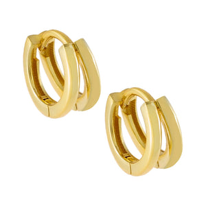 Gold Solid Double Huggie Earring - Adina's Jewels
