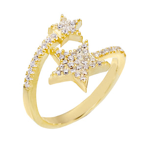 Gold Double Star Ring - Adina's Jewels