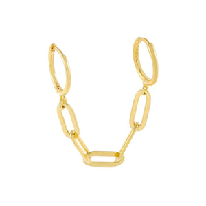 Gold / Single Oval Link Chain Huggie Earring - Adina's Jewels