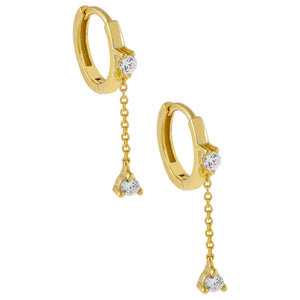 Gold CZ Cluster Chain Drop Huggie Earring - Adina's Jewels