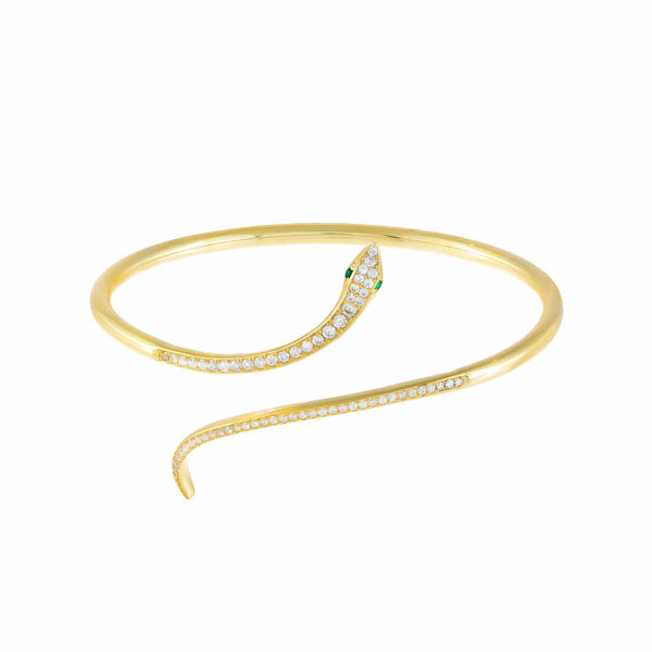 Emerald Green Pavé Snake Bangle - Adina's Jewels