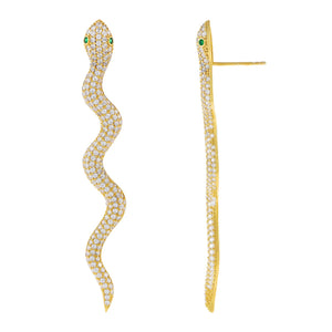 Emerald Green Pavé Snake Drop Stud Earring - Adina's Jewels