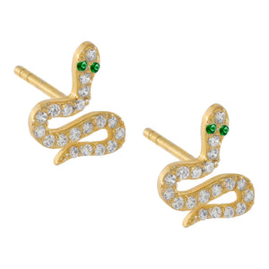 Pavé Serpent Stud Earring Emerald Green - Adina's Jewels