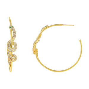 Emerald Green Pavé Snake Wrapped Hoop Earring - Adina's Jewels