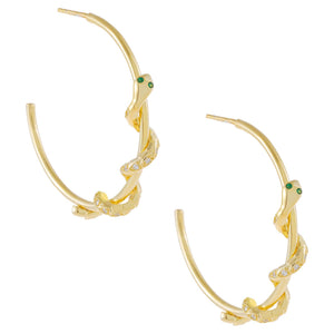 Gold CZ Snake Wrapped Hoop Earring - Adina's Jewels