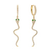 14K Gold / Single Diamond Snake Drop Huggie Earring 14K - Adina's Jewels