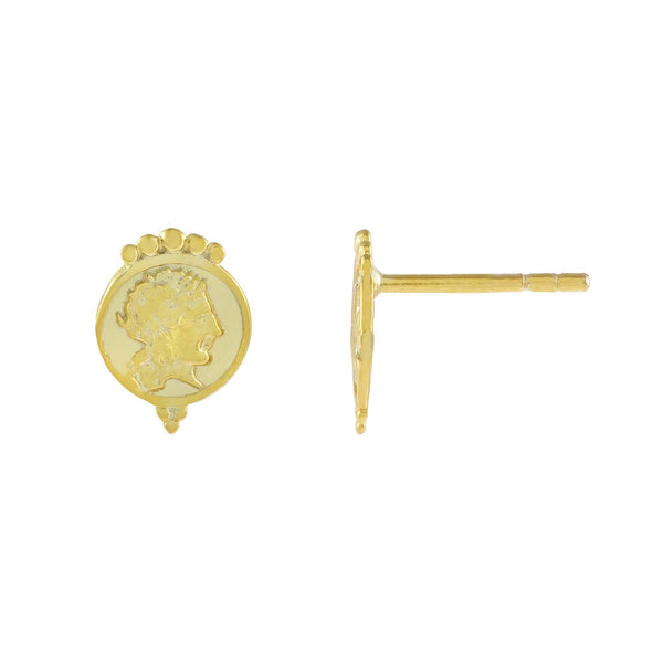 Gold Vintage Mini Coin Stud Earring - Adina's Jewels