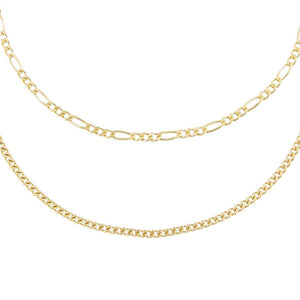 Gold Cuban x Figaro Anklet Combo Set - Adina's Jewels