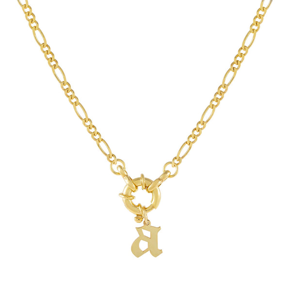 Gold / A / Gothic Initial Figaro Toggle Necklace - Adina's Jewels