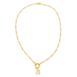 Lowercase Gothic Initial Figaro Necklace - Adina's Jewels