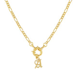 Gold / A / Old English Initial Figaro Toggle Necklace - Adina's Jewels