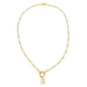 Initial Figaro Toggle Necklace - Adina's Jewels