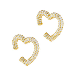 Gold Pavé Heart Ear Cuff Set - Adina's Jewels