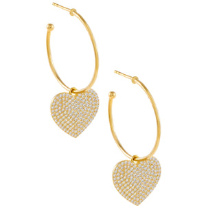 Pavé Heart Charm Hoop Earring Gold - Adina's Jewels