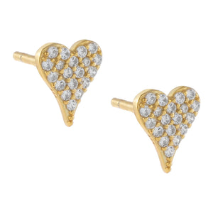 Gold Mini Pavé Heart Stud Earring - Adina's Jewels