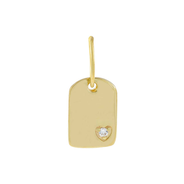 Gold CZ Mini Heart Dog Tag Charm - Adina's Jewels