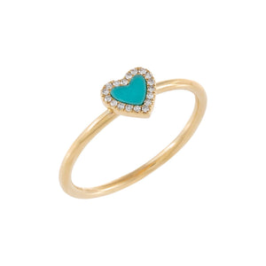 Turquoise / 6.5 Diamond Turquoise Heart Ring 14K - Adina's Jewels