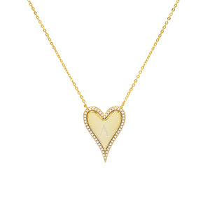 Gold Engraved Pavé Initial Heart Necklace - Adina's Jewels