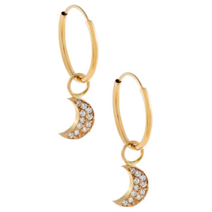14K Gold CZ Crescent Hoop Earring 14K - Adina's Jewels