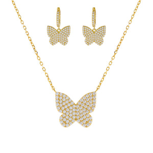 Gold Pavé Large Butterfly Combo Set - Adina's Jewels