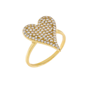 Gold / 6 Pavé Heart Ring - Adina's Jewels