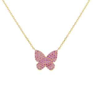 Gold Pavé Pink Butterfly Necklace - Adina's Jewels