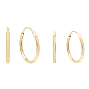 Endless Hoop Earring Combo Set 14K Gold - Adina's Jewels