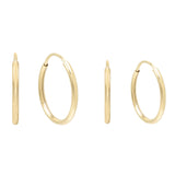 14K Gold Endless Hoop Earring Combo Set 14K - Adina's Jewels