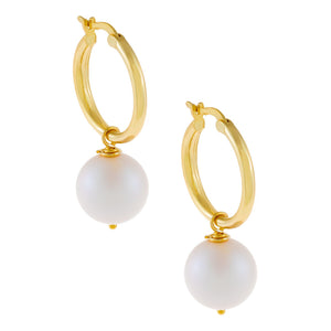 White Pearl Hoop Earring Pearl White - Adina's Jewels