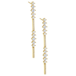 CZ Round X Bar Drop Earring Gold - Adina's Jewels
