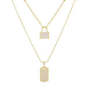 Gold Pavé Lock X Dog Tag Layered Necklace - Adina's Jewels
