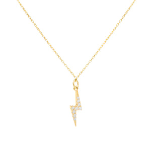 Pavé Lightning Bolt Necklace Gold - Adina's Jewels