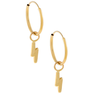 Lightning Bolt Hoop Earring 14K 14K Gold - Adina's Jewels