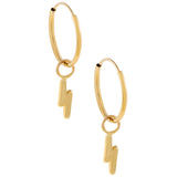 14K Gold Lightning Bolt Hoop Earring 14K - Adina's Jewels