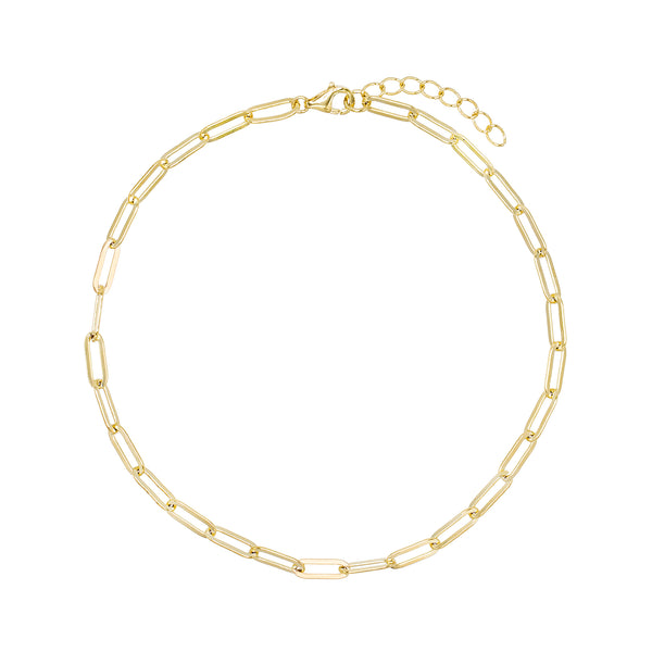 Gold Oval Link Anklet - Adina's Jewels