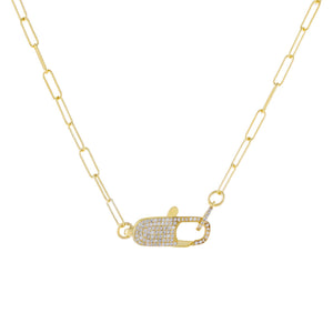 Gold Large Pavé Clasp Oval Link Necklace - Adina's Jewels