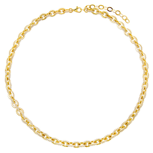 Pavé Circular Link Necklace  - Adina's Jewels