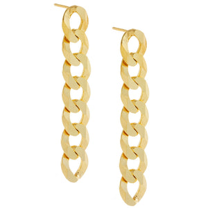 XL Cuban Chain Drop Stud Earring Gold - Adina's Jewels