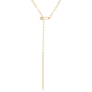 Safety Pin Link Lariat Gold - Adina's Jewels