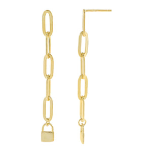 Gold Lock Oval Link Drop Earring - Adina's Jewels
