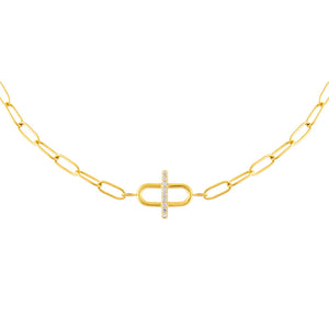 CZ Toggle Multi Link Choker Gold - Adina's Jewels