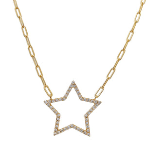 Gold CZ Open Star Link Necklace - Adina's Jewels