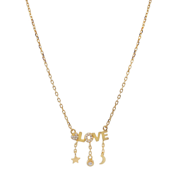 Gold CZ Celestial X Love Necklace - Adina's Jewels