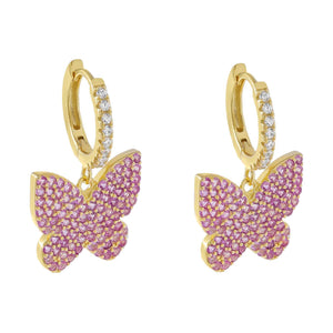 Sapphire Pink Pavé Pink Butterfly Huggie Earring - Adina's Jewels