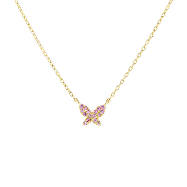 Gold Pavé Mini Pink Butterfly Necklace - Adina's Jewels