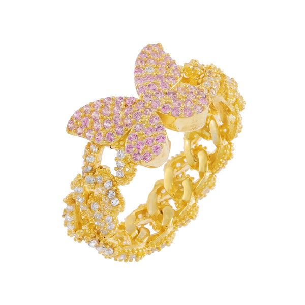 Gold / 6 Pink Pavé Butterfly Chain Link Ring - Adina's Jewels