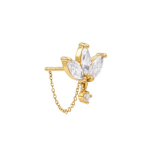 CZ Marquise Chain Stud Earring Gold / Single - Adina's Jewels
