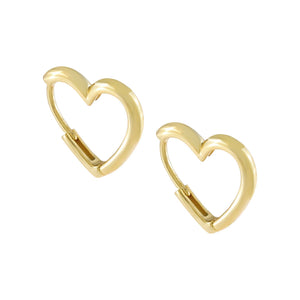 Gold / 15.5 MM Solid Open Heart Huggie Earring - Adina's Jewels