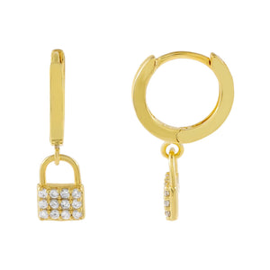 Gold Pavé Mini Lock Huggie Earring - Adina's Jewels