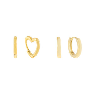 Gold Mini Heart Huggie Earring Combo Set - Adina's Jewels